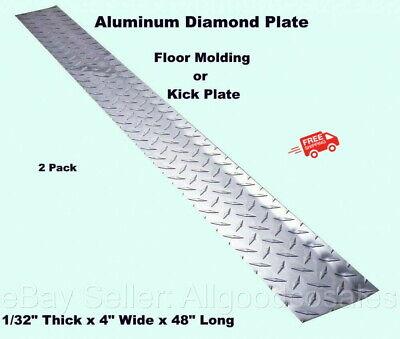 Aluminum Diamond Plate 2 - 4 X 48 Strips Floor Molding Kick Plates Silver