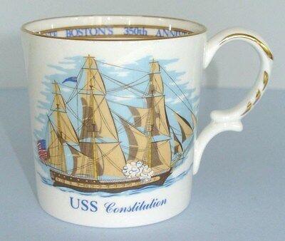 1980 Aynsley USS Constitution Commemorate Boston's 350th Anniversary Mug ~ MINT