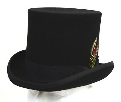 Men's Dress Hat Mad Hatter Top Hat Solid Black 100% Wool Sizes S, M, L, XL