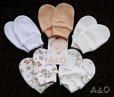 1-2-3-4 Paar Erstlingshandschuhe Fäustlinge Baby Kratzfäustlinge Muster Fäustel Baby-fäustlinge