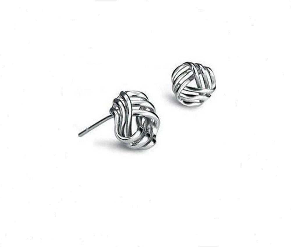 Women Solid 925 Sterling Silver Geometry Shape Ear Stud Earrings Fine Earrings