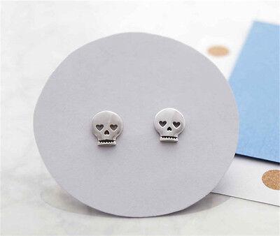 Sugar Skull Earrings (Women Cute Sugar Skull Skeleton Heart Eye Post Stud Earrings Evil Face)