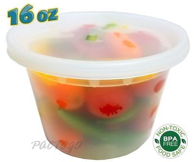 16 oz. (Pint Size) Freezer Food Storage Deli Containers Tubs 96 Sets - BPA FREE!
