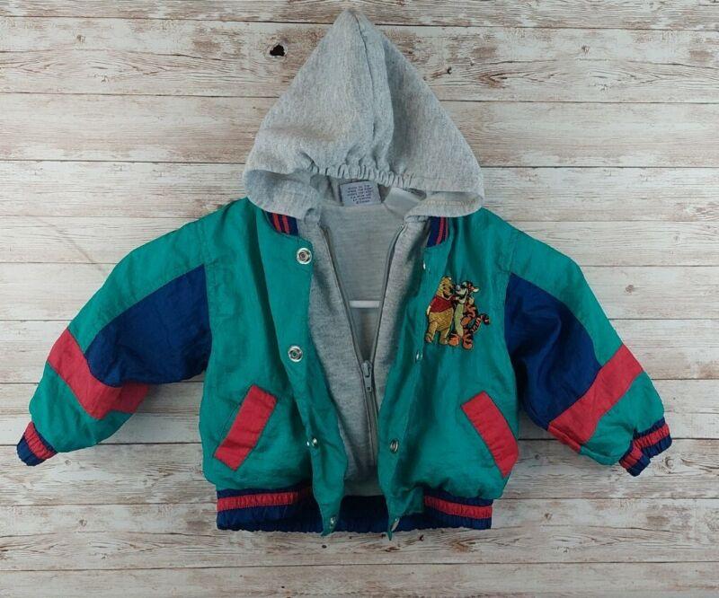 Disney Toddler Kids GREEN/GRAY/BLUE Pooh Full Zip Hoodie Jacket Size 18 Months