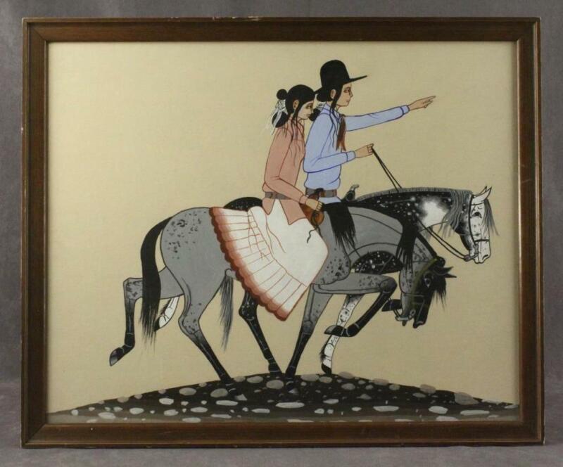 VINTAGE Navajo Folk Art W YAZZIE Tempura Painting Native Couple on Horseback
