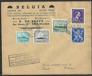 Belgium-covers-1946-mixed-franked-1st-Flightcover-to-NY
