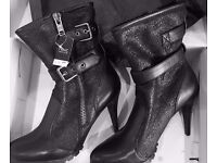 Ladies NEXT Biker Style Boots Size 6 Black NWT