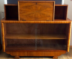 Vintage 1940's Walnut effect Shelving and storage unit