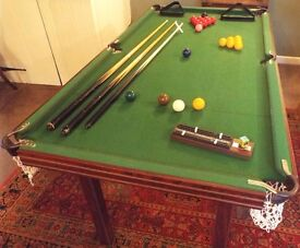6x3ft Snooker/Pool Table with cues, balls, etc.