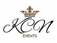 KCN Events. venue styling. 2017 LAUNCH. Wedding hire chair covers flowers centrepieces back drop
