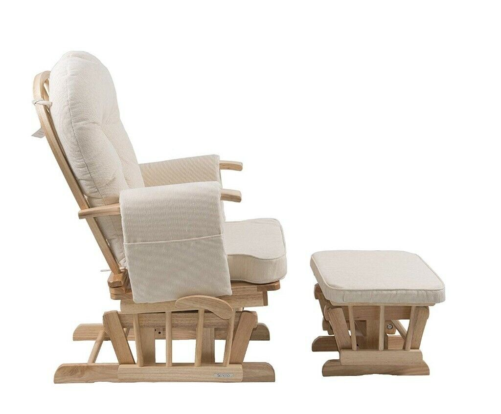 Tremendous Sereno Natural Nursing Glider Maternity Rocking Chair With Glide Lock And Footstool In Cambridge Cambridgeshire Gumtree Bralicious Painted Fabric Chair Ideas Braliciousco
