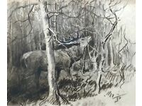 LIONEL EDWARDS 1878-1966 -SILENCE IS GOLDEN- STAG DEER BRANCHES, SIGNED CHARCOAL