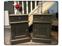 Pair of Annie Sloan Hand Painted Shabby Chic Solid Wood Bedside Cabinets