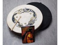 """Bodhran 18"""" Tribal Design Drum with Case and Instruction Book £40"""