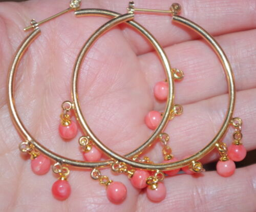 14K GF GORGEOUS GOLD FILLED PERFECT LARGE  HOOP EARRINGS W CORAL ROUND DANGLES