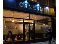 Canham Restaurant & Bar Require Experienced Floor Staff & Bar Staff