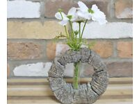 TWO Flower Holders (each is a different size-see description) Wood Effect #