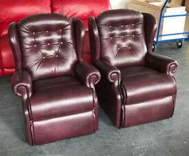 RRP £2000 BRITISH Sherborne Lynton Leather Antique Red Armchairs .Can Deliver