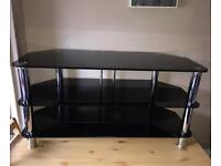 Black glass 42 inch Tv stand