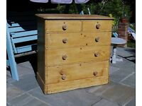 ANTIQUE, VICTORIAN PINE CHEST OF DRAWERS c1880 - LARGE SIZE - PLINTH BASE