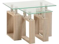 New Sonoma Oak Effect Milan Glass Nest of Tables only £59 get yours today