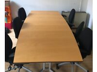 Wilkhahn Folding Boardroom Table/Large Office Desk with 6 office chairs