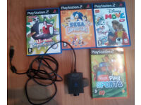 4 x EYE TOY GAMES + EYE TOY FOR PS2 - vgc - £20