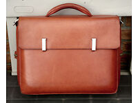 Piquadro Tamponato tan multi-compartment leather briefcase, bag