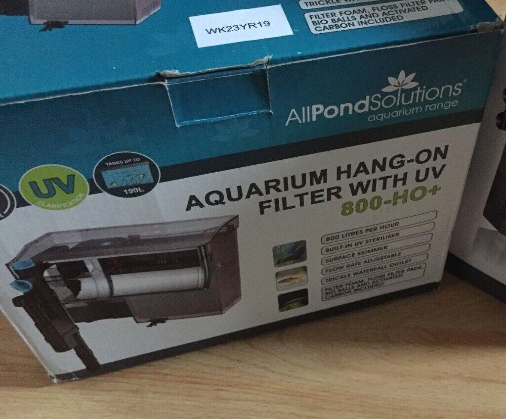 All Pond Solutions Aquarium Hang On Back Fish Tank Filter 800 Litre// Hour