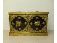 Beautiful vintage antique full hand stenciled brass and wooden Middle Eastern trunk chest