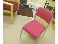 8 Maroon fabric meeting/ conference stackable chairs with grey metal frame