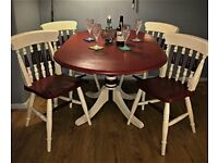 Burgundy & Cream Dining Table with 4 Chairs
