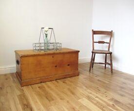 Vintage Pine Storage Chest / Coffee Table / Blanket Box