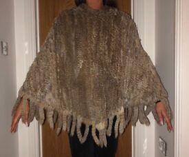 ** Real Fur ** Poncho - Brand New