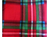 Red Tartan Luxury Fleece Camping / Picnic Blanket Rug