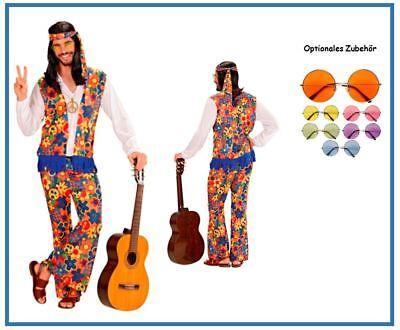 Hippie Herren Flower Power Kostüm 70er 80er Jahre Woodstock Karneval Fasching, - Herren Kostüm Woodstock