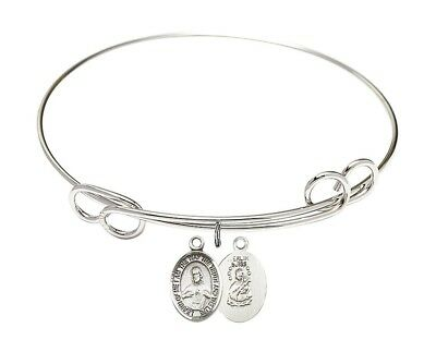 Silver Tone Double Loop Bangle Bracelet with Scapular Charm, 8 Inch