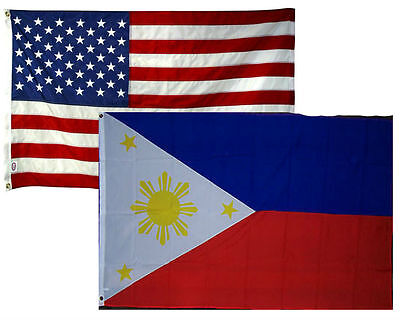 3x5 3'x5' Wholesale Combo Set USA American & Philippines 2 Flags Flag