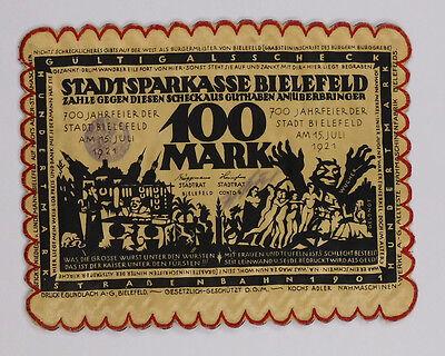 Notgeld Stadt Bielefeld Seide gestickt 100 Mark vom 15.07.1921  #GS029