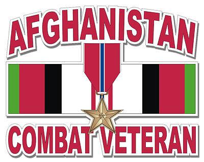 "Bronze Star Afghanistan Combat Veteran 8"" Military Sticker / Decal"
