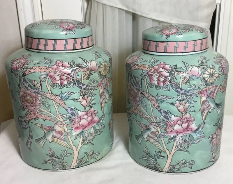 Pair Of Chinese Old Marked Hand Painted Floral & Birds Design Porcelain Lid Jars