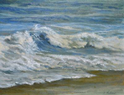 OCEAN WAVES BEACH Art Print of Oil Landscape Painting by P. Tarlow
