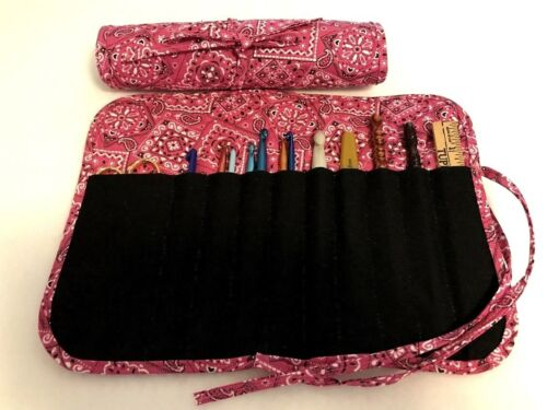 Handmade PINK BANDANA Quilted cotton fabric crochet hook case / holder