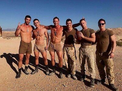 Shirtless Male Military Men Muscular Hunks Group Desert Shot  PHOTO 4X6 D901