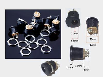 Lot 10 Black Panel Mount Dc Power Supply Jack Socket 5.5mm X 2.1mm