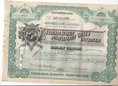 Federal Street And Pleasant Valley Passenger Railway Company    1891 Stock