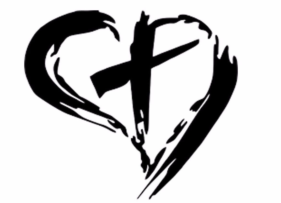 CROSS HEART Vinyl Decal Sticker Car Window Wall Bumper Jesus