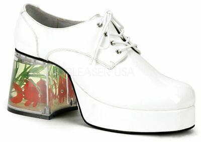 Disco Goldfish Shoes (NEW NWOB Funtasma Disco Pimp Costume Shoes w Goldfish in Heel White L)