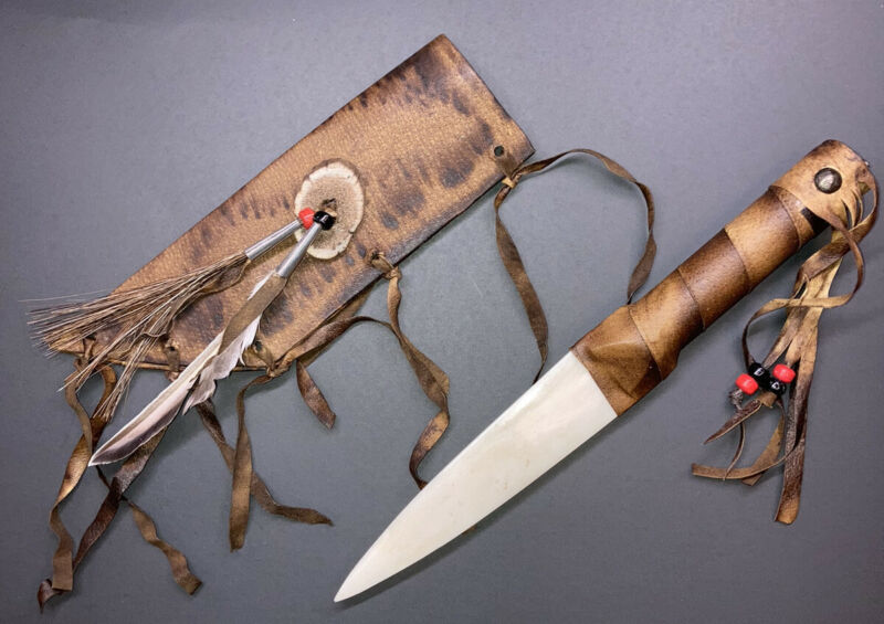 Native American Bone Blade Knife With Leather Sheath