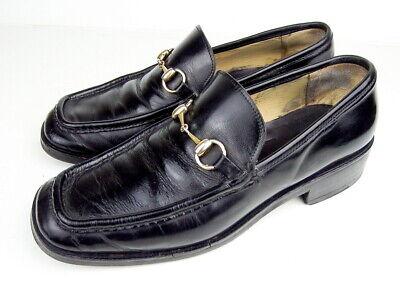 Vintage GUCCI Horsebit Black Leather Men's Loafers Shoes Size US Mens 13 D VGVC